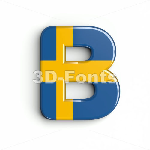 Capital sweden national flag letter B - Upper-case 3d font - 3d-fonts