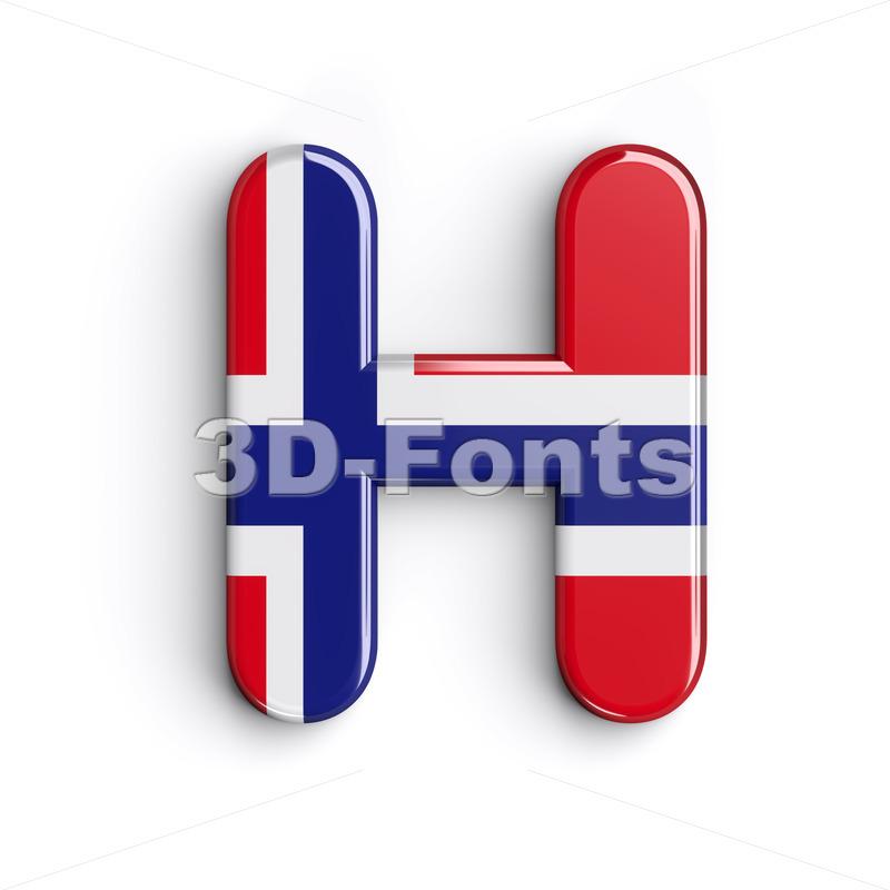 Norway 3d letter H - Upper-case 3d character - 3d-fonts.com