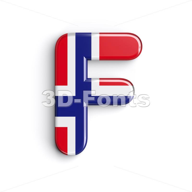 Norway letter F - Upper-case 3d font - 3d-fonts.com