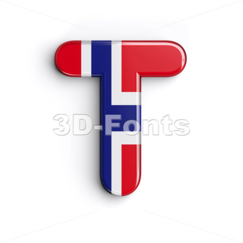 Norway national flag character T - Uppercase 3d letter - 3d-fonts.com