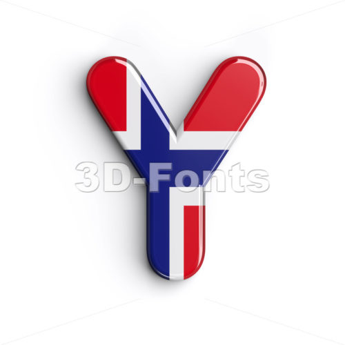 Upper-case Norway font Y - Capital 3d character - 3d-fonts.com