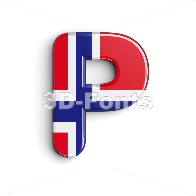 Upper-case norwegian flag character P - Capital 3d font - 3d-fonts.com
