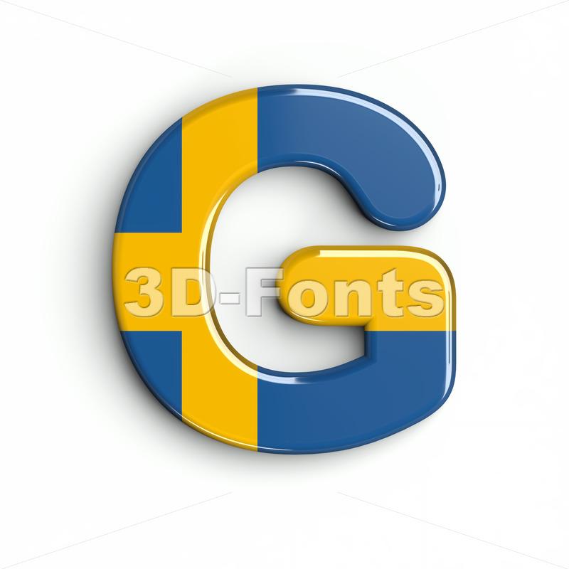 Upper-case sweden character G - Capital 3d font - 3d-fonts