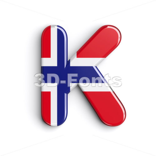 Uppercase Norway letter K – Capital 3d font – 3d-fonts.com