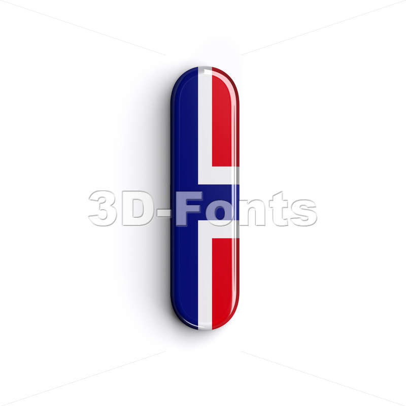 Uppercase norwegian flag font I – Capital 3d letter – 3d-fonts.com