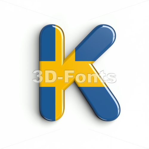 Uppercase sweden letter K - Capital 3d font - 3d-fonts