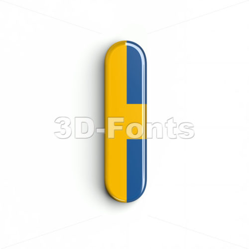Uppercase swedish flag font I - Capital 3d letter - 3d-fonts