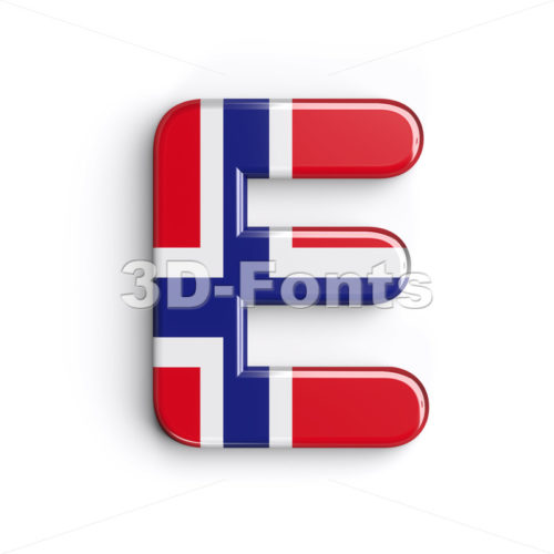 norwegian flag character E - Capital 3d letter - 3d-fonts.com