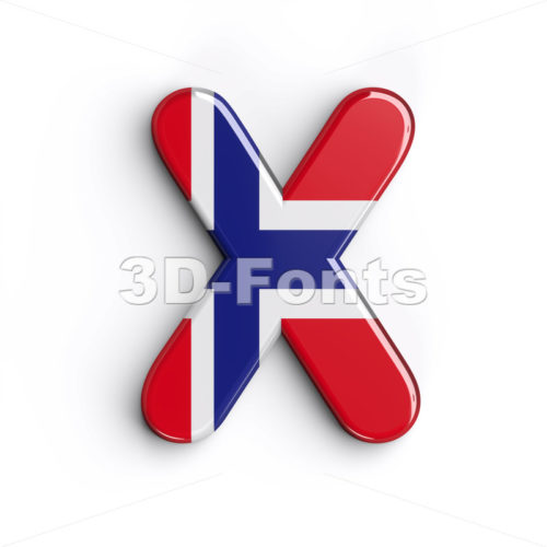 norwegian flag character X - Upper-case 3d letter - 3d-fonts.com