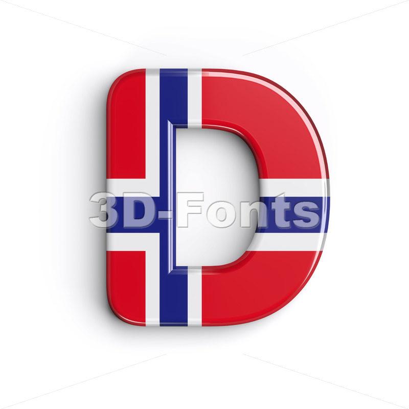 norwegian flag font D - Capital 3d character - 3d-fonts.com