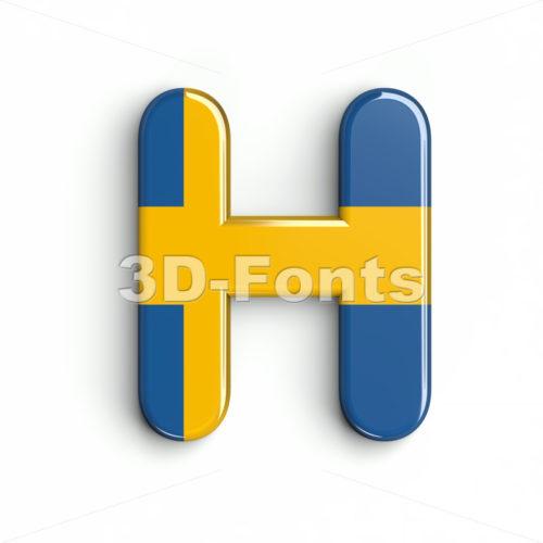 sweden 3d letter H - Upper-case 3d character - 3d-fonts