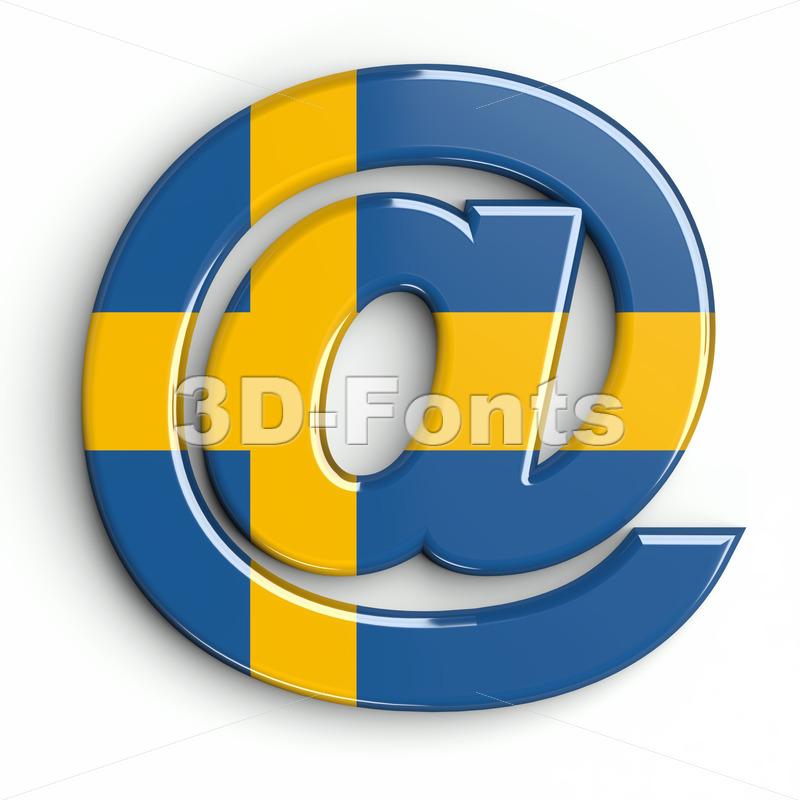 sweden at-sign - 3d arobase symbol - 3d-fonts