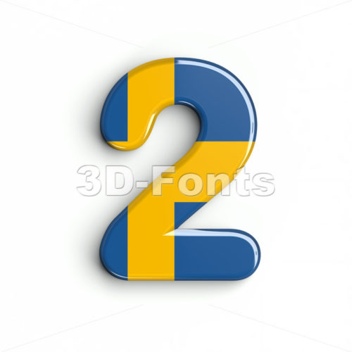 sweden digit 2 - 3d number - 3d-fonts