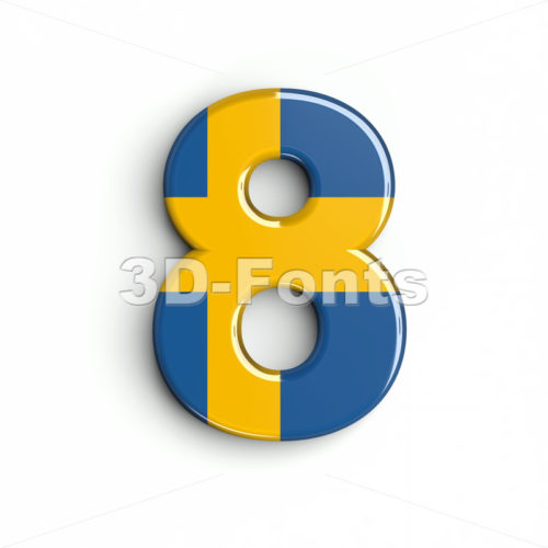 sweden digit 8 - 3d number - 3d-fonts