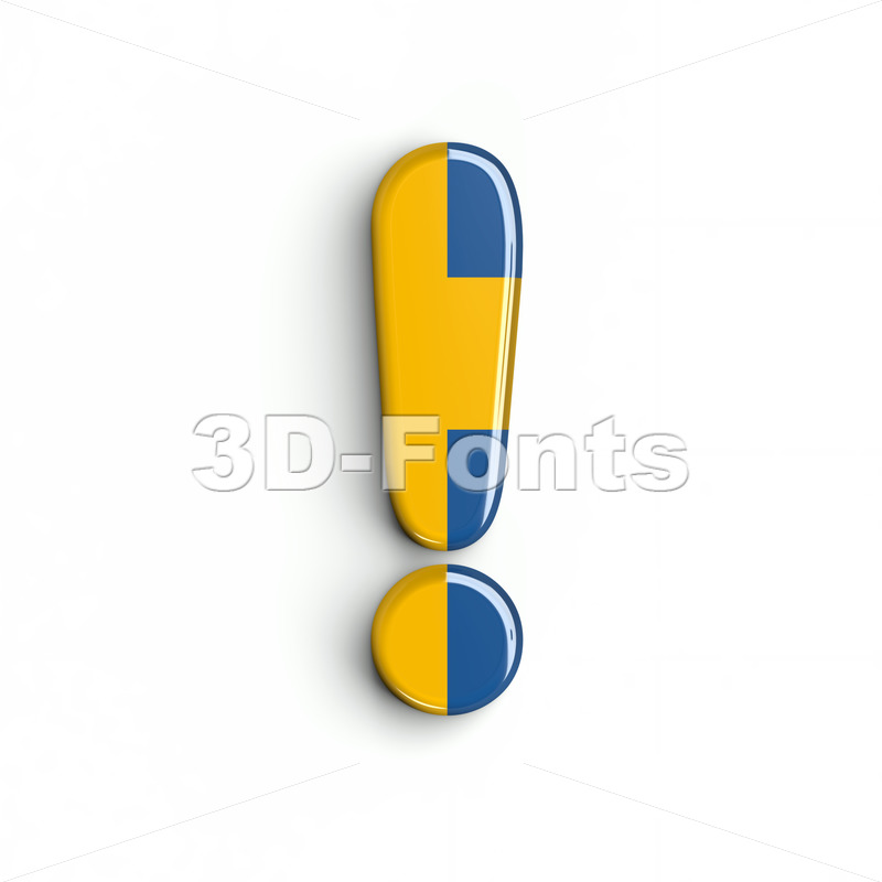 sweden exclamation point - 3d symbol - 3d-fonts