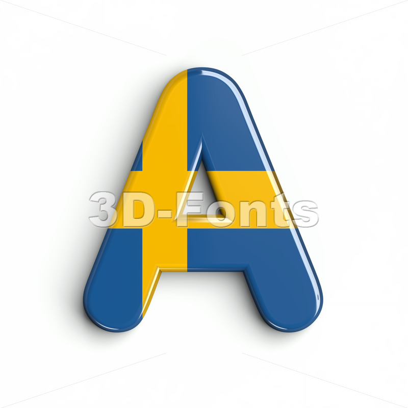 sweden letter A - Capital 3d character - 3d-fonts