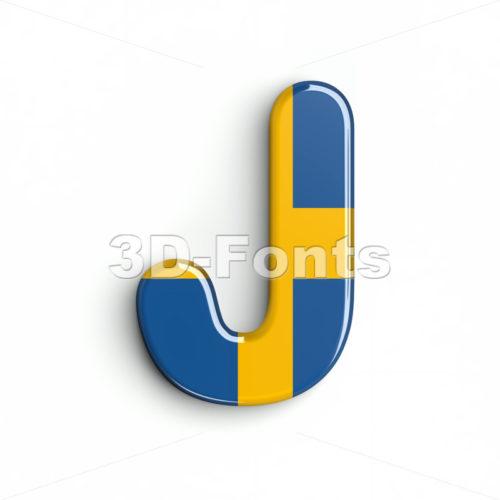 sweden national flag font J - Uppercase 3d character - 3d-fonts