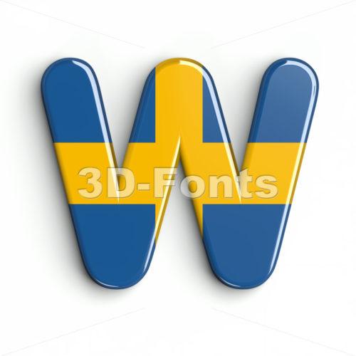 sweden national flag font W - Capital 3d letter - 3d-fonts