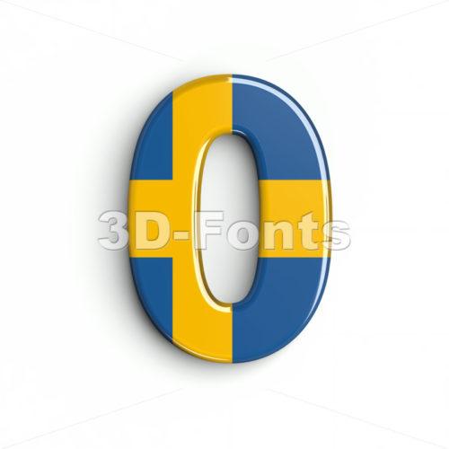 sweden number 0 - 3d digit - 3d-fonts