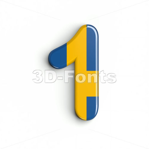 sweden number 1 - 3d digit - 3d-fonts