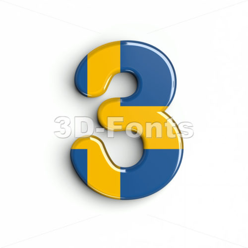 sweden number 3 - 3d digit - 3d-fonts