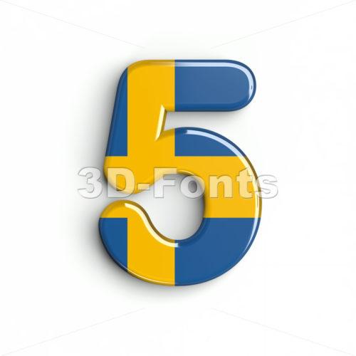 sweden number 5 - 3d digit - 3d-fonts