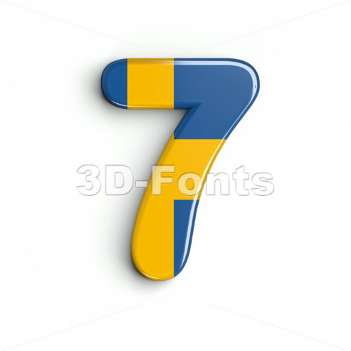 sweden number 7 - 3d digit - 3d-fonts