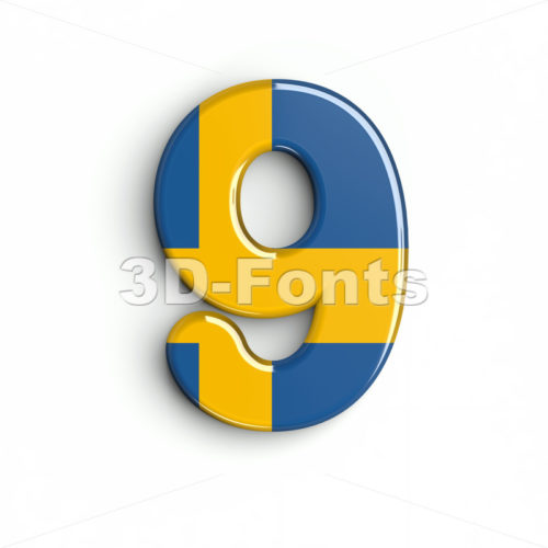 sweden number 9 - 3d digit - 3d-fonts
