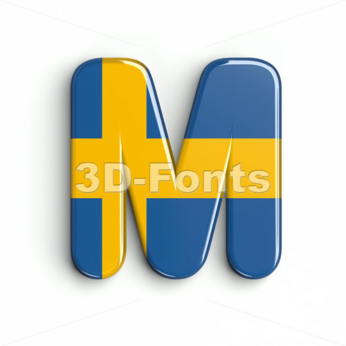 swedish flag character M - Capital 3d letter - 3d-fonts