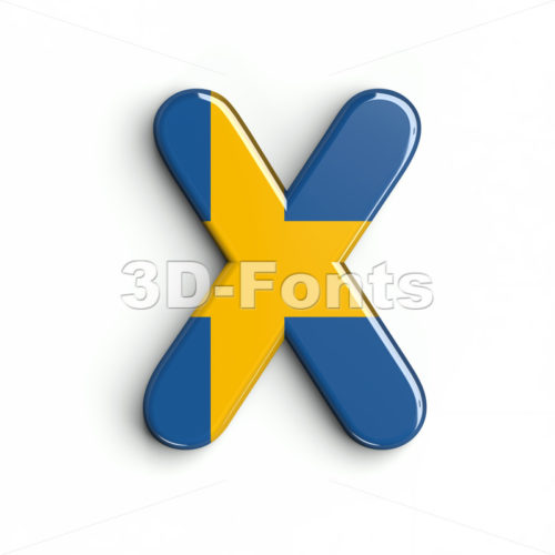 swedish flag character X - Upper-case 3d letter - 3d-fonts