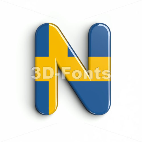 swedish flag font N - Capital 3d letter - 3d-fonts