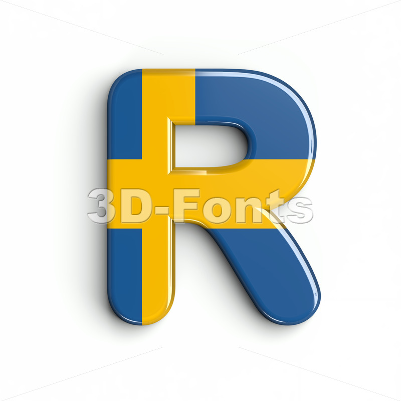 swedish flag letter R - Uppercase 3d font - 3d-fonts
