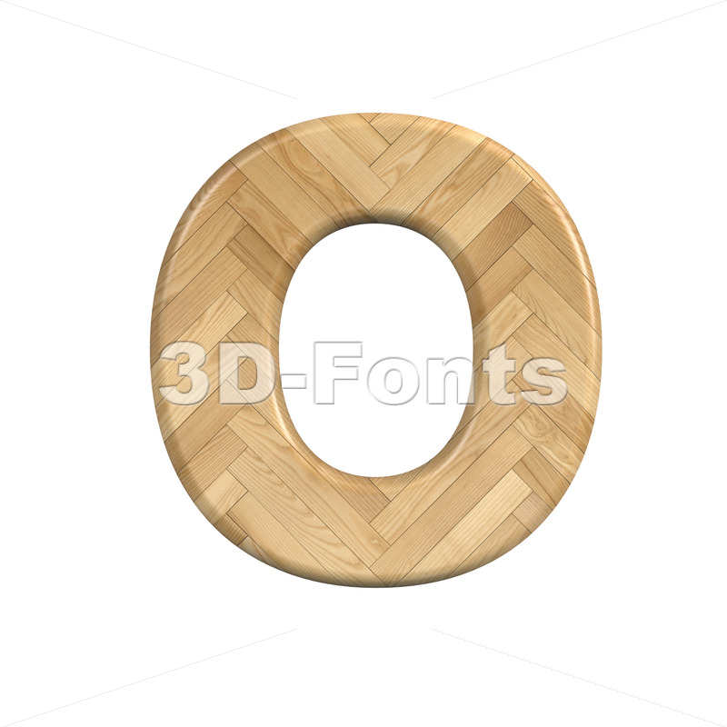 3d Upper-case letter O covered in Ash wood texture - 3d-fonts