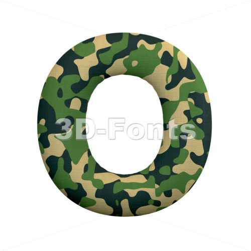 3d Upper-case letter O covered in army texture - 3d-fonts