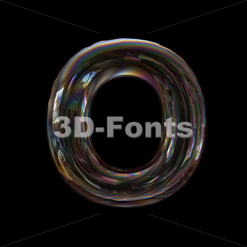3d Upper Case Letter O Covered In Bubble Texture Capital Font