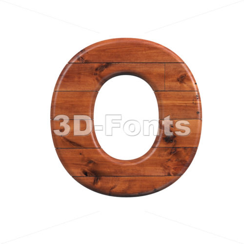 3d Upper-case letter O covered in wooden texture - 3d-fonts