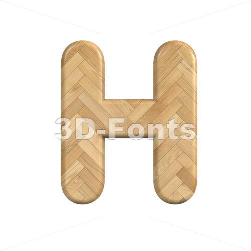 Ash wood 3d letter H - Upper-case 3d character - 3d-fonts