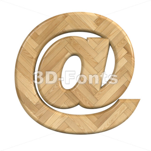 Ash wood at-sign - 3d arobase symbol - 3d-fonts