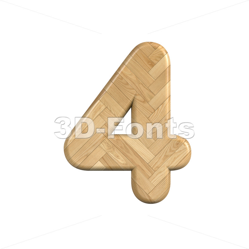 Ash wood digit 4 - 3d number - 3d-fonts
