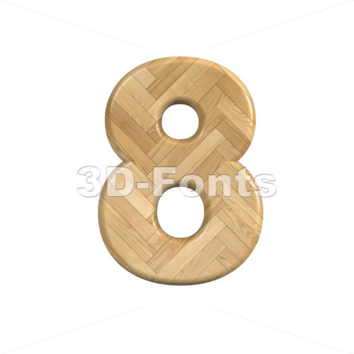 Ash wood digit 8 - 3d number - 3d-fonts