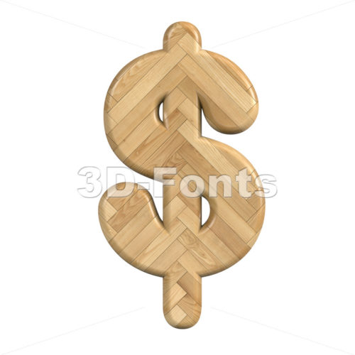 Ash wood dollar currency sign - 3d money symbol - 3d-fonts