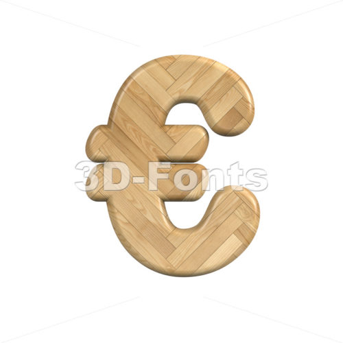 Ash wood euro currency sign - 3d business symbol - 3d-fonts