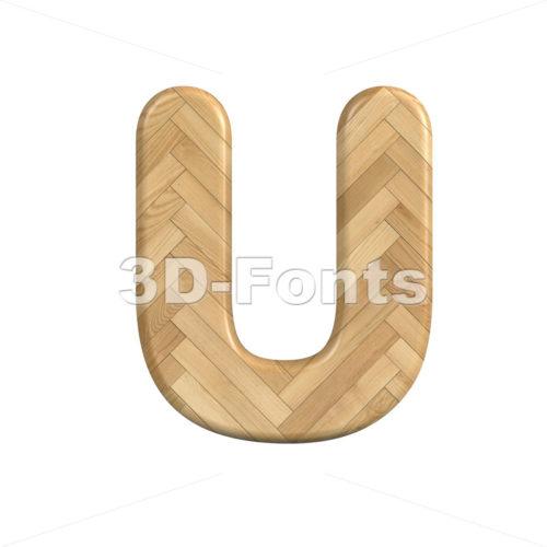 Ash wood letter U - Capital 3d font - 3d-fonts