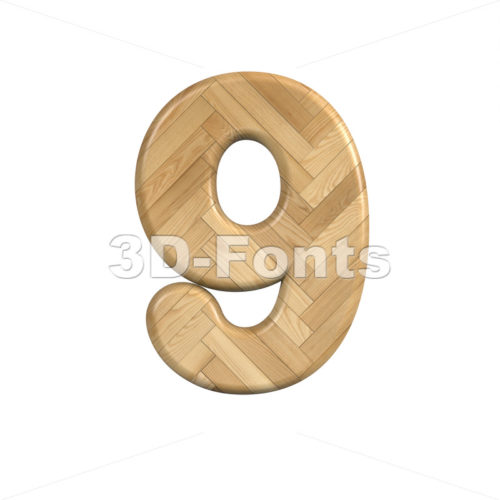 Ash wood number 9 - 3d digit - 3d-fonts