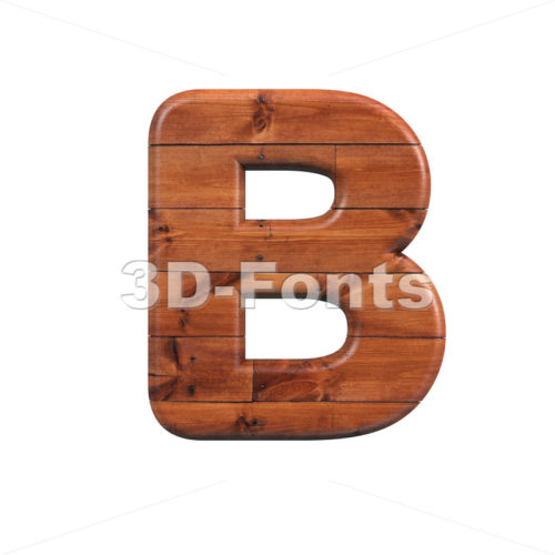 Capital Wooden parquet letter B - Upper-case 3d font - 3d-fonts