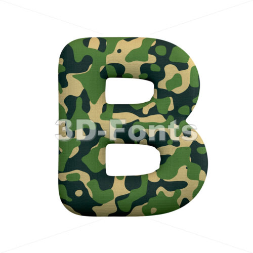 Capital millitary letter B - Upper-case 3d font - 3d-fonts
