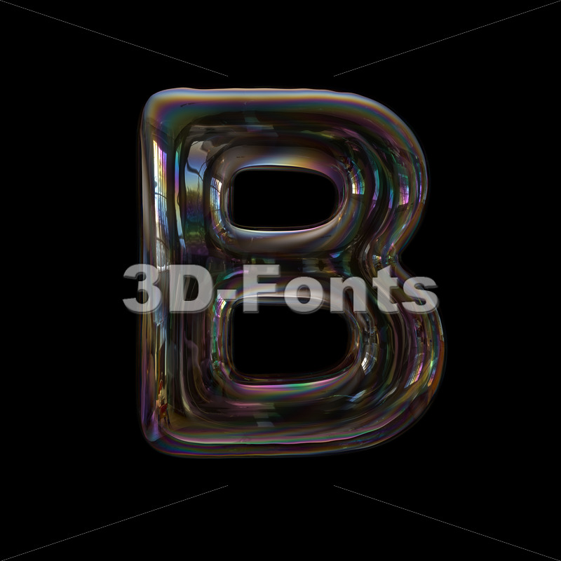 Capital soap bubble letter B - Upper-case 3d font - 3d-fonts