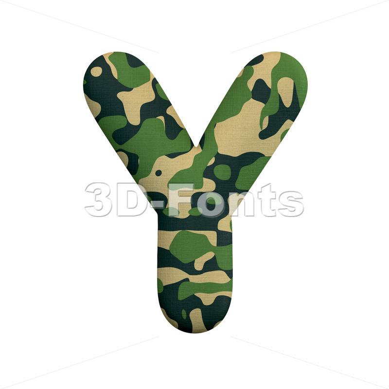 Upper-case army font Y - Capital 3d character - 3d-fonts