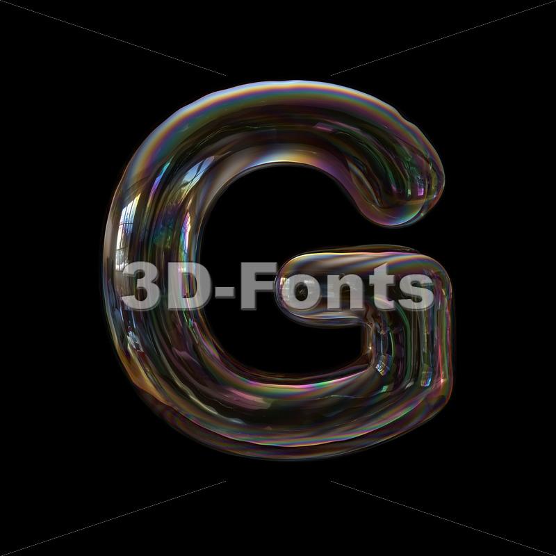 Upper-case bubble character G - Capital 3d font - 3d-fonts