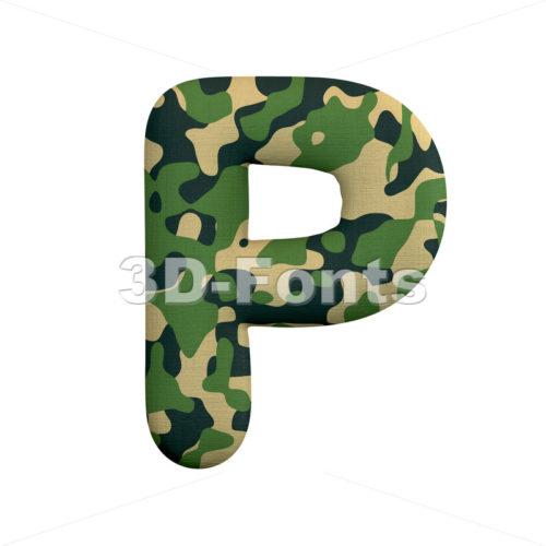 Upper-case camo character P - Capital 3d font - 3d-fonts